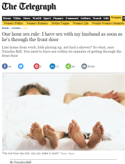 http://www.telegraph.co.uk/women/sex/11964022/Sex-Happy-marriage-means-having-sex-within-an-hour-of-getting-home.html